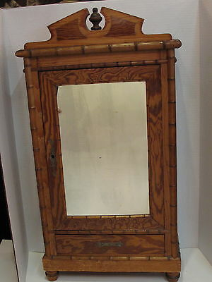 Antique Miniature French Faux Bamboo Doll Armoire / Cabinet