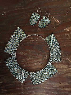vintage NECKLACE & EARRINGS turquoise blue & gold RETRO costume JEWELRY bib
