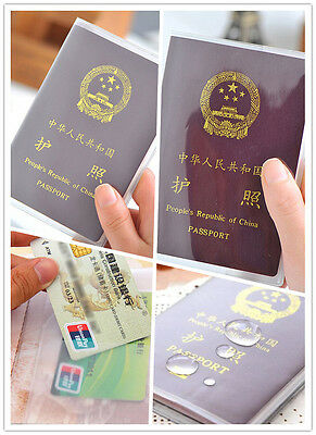 Transparent Passport Holder Cover Case ID Card Travel Protector Clear Frosted Ey