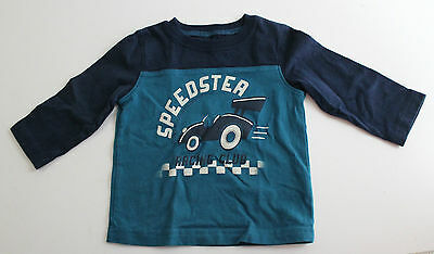 Jumping Beans, 9 Month, Navy/Pacific Blue Speedster Shirt New without Tags