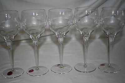 VINTAGE ETCHED FLORAL MADE IN ROMANIA CRYSTAL WINE GLASSES (5) PCS SET 7OZ