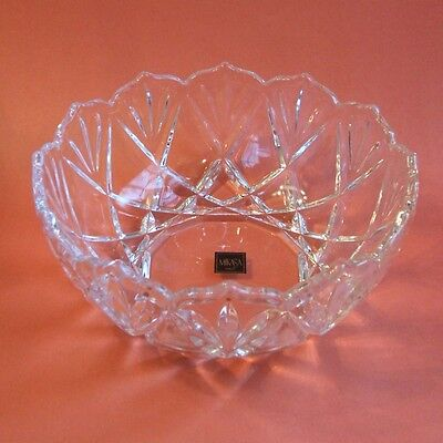 Mikasa Crystal Roxborough Round Serving Fruit Bowl 8.5 Inch with Label