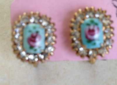 VTG Hand Painted Rhinestone Rose Pink Blue Green Screw Back Gold Signed Earrings