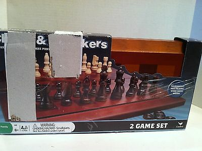 Chess and Checkers Deluxe Staunton Style Chess Pieces Tournament Size Board