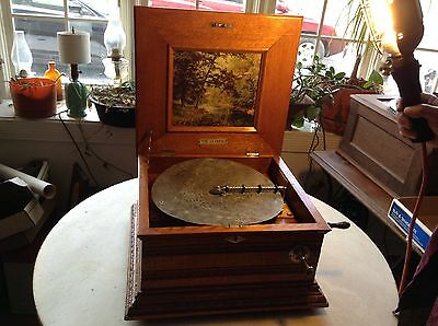 Antique Olympia 11 5/8 Ornate Oak Double Comb Music Box Coin Op OUTSTANDING!!