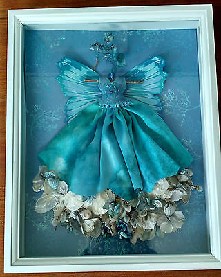 One-of-a-Kind Blue Sea Fairy Dress White Shadow Box Dried Floral/Fabric Collage