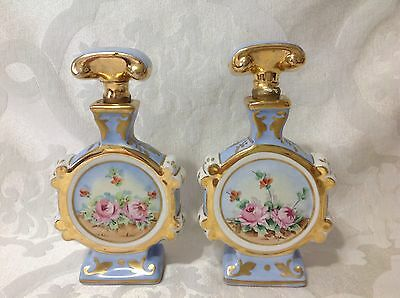 1900 Pair Beautiful Limoges Victorian Hand Painted Signed Scent Bottles; Great
