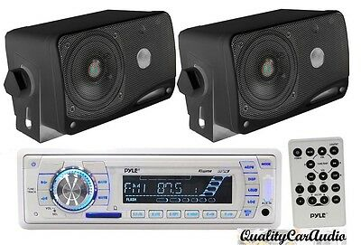 "Pyle Marine AM/FM USB/SD iPod AUX Receiver Stereo + 2 x 3.5"" 200W Black Speakers"
