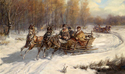 Huge oil painting Russians on horse-drawn sleigh in winter snow landscape canvas
