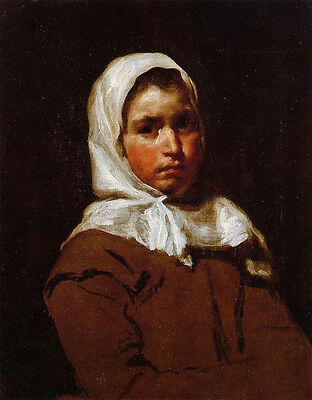 Wonderful Oil painting Diego Velazquez - Young Peasant Girl & white scarf canvas