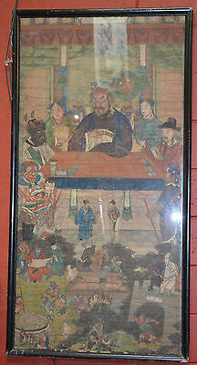RARE 19th CHINESE ANTIQUES FRAMED KING YAMA WATERCOLOUR PAINTING Qing Dynasty