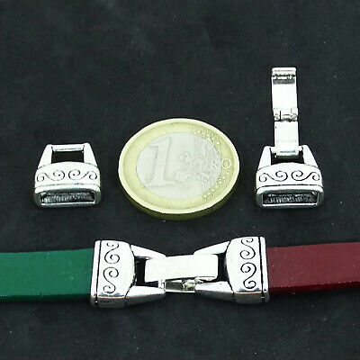 4 Cierres Para Cuero 32x13mm  T14X  Plata Tibetano Leather Beads Cuir Clasps