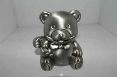 Bear And Baby Pewter Plated Money Box Christening Baby Shower