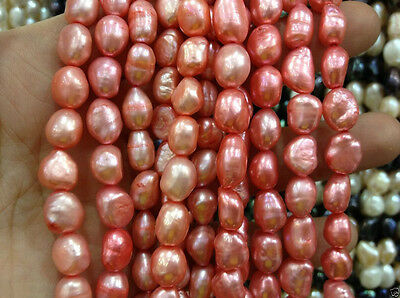 """8-9MM Watermelon red irregular freshwater pearl loose beads 15 """""""
