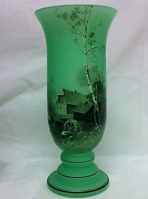 "BOHEMIAN CZECH HAND PAINTED OLD MILL SCENIC ART GLASS VASE 7-1/4"" TALL 1920'S"