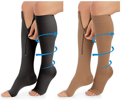 Zip Up Compression Knee High Socks Relief Support Travel Sport Open Toe Stocking