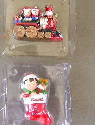 Lot Of 2  Campbell's Soup Christmas Ornaments NRFB. 2000 Original