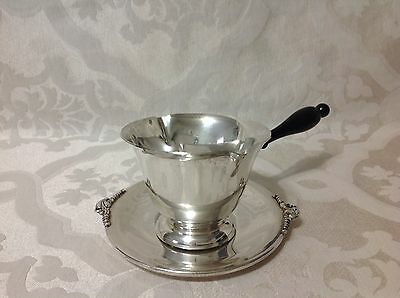 1926-1959 Quaker Sterling Silver 2pc Sauce Dish w/Wood Handle & Saucer; Great