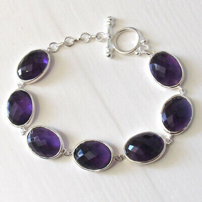 Checker Cut Amethyst and Sterling Silver Bracelet