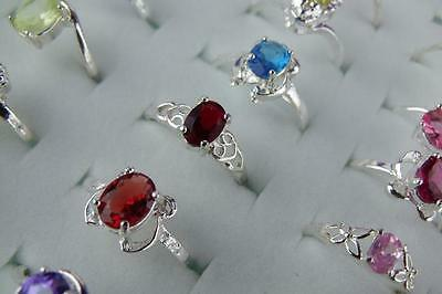 wholesale 10pcs mixed 925 Sterling Silver CZ Rings 6-9