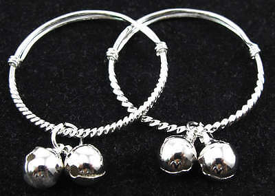 2pc Silver Baby Bracelet Dangle Charms Kids' Gift Baby Jewelry Bangle Adjustable