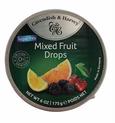 Cavendish and Harvey Sugar Free Lollies Mixed Fruit Drops 10 x 175g C & H tins