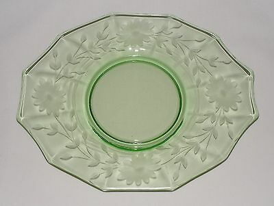 Vtg 1930's ETCHED FLORAL GREEN DEPRESSION GLASS TAB HANDLE SERVER PLATE TRAY