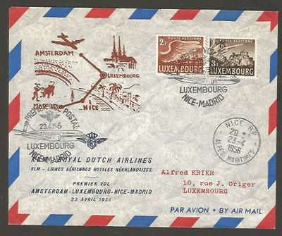Luxembourg Internal First Flight Cover 1956 w 2 Stamps L@@K