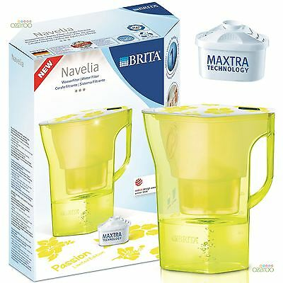 BRITA Navelia Midnight Yellow 2.3L Water Filter Jug + 1 Maxtra Filter Cartridge