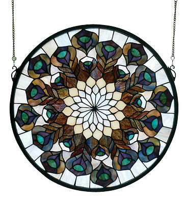 Meyda 17 Inch W X 17 Inch H Peacock Feather Medallion Stained Glass  Window