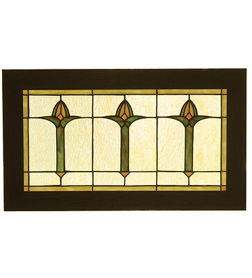 Meyda 24 Inch W X 14 Inch H Bud Trio Stained GlassWindow
