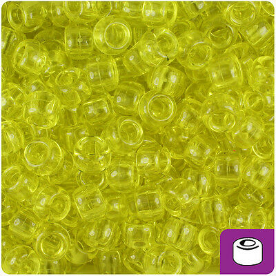500pc Yellow Transparent 9x6mm Barrel Pony Beads Made in the USA by The Beadery
