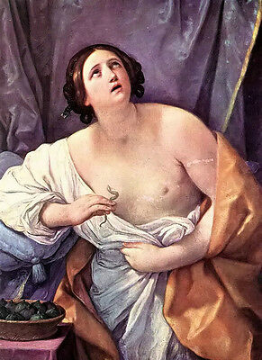Beautiful Oil painting Guido Reni - The Death of cleopatra holding snake Viper