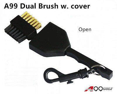 A99 Golf Dual Side Brush with retractable cover Keep you tools clean