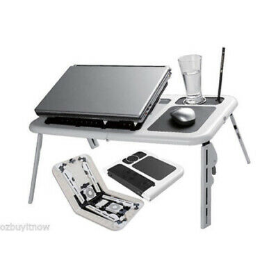 Laptop Lap Desk Foldable Table e-Table Bed with USB Cooling Fans Stand TV Tray