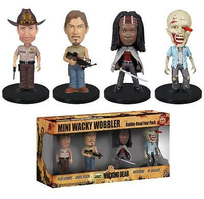 The Walking Dead Mini Wacky Wobbler Bobblehead Figure Set Rick Daryl Zombie  4PK