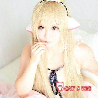 Chobits Cosplay Long Light Blonde Straight Wigs