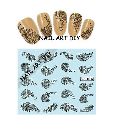 20 Nail Art Stickers-Decals water transfer-Adesivi con Pizzo Nero con Fiori !