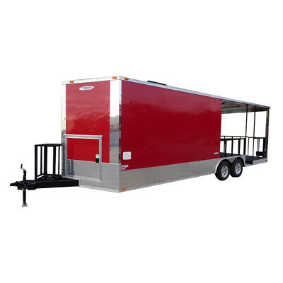 Concession Trailer 8.5' x 24' Red - BBQ Smoker Food Catering