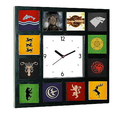 Game Of Thrones Nobel Houses Symbols Clock with 12 pictures