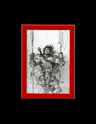 RED SONJA / CLAW #2 COVER SKETCH PRINT PROFESSIONALLY MATTED Jim Lee art