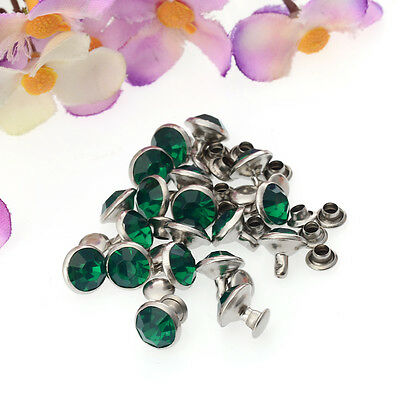 Free shipping Charm for jewelry 20pcs 9mm Acrylic Rivet Tack Crystal Studded D06