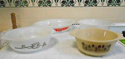 Vintage Pyrex Collection - 3 Casseroles + 1 Divided Dish. Used