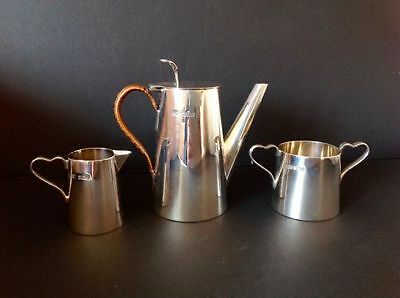 Christopher Dresser Style Antique English Sterling Silver Coffee Set Service