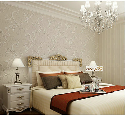 10M 3D Embossed Project Wallpaper Roll Luxury European Style White Cream Lounge