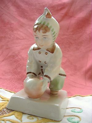 VINTAGE,HUNGARIAN ZSOLNAY PORCELAIN  PLAYING BABY,CHILD&BALL HANDPAINTED,SIGNED