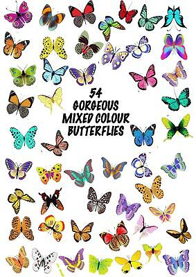 54 X Gorgeous Mixed Butterflies Edible Cupcake Toppers Rice Paper Cake Ccc20