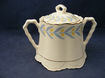 W S George Radisson China Covered Sugar Bowl Yellow Tulips Blue leaves