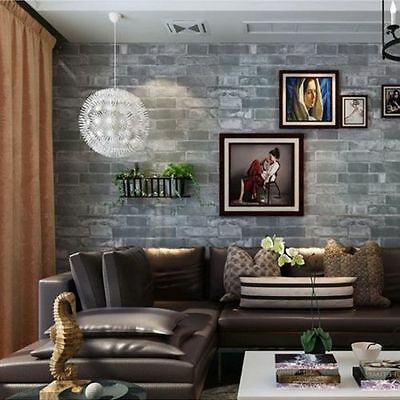 3D Brick Theme - 10M Wallpaper Dark Grey Stone Rustic Aged Cafe Shop Restaurant