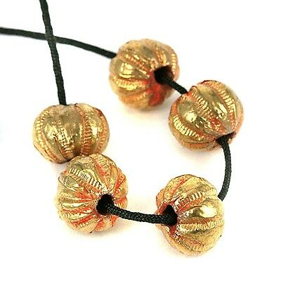 5 Indian Gold Lac Handmade Beads. Patterned Fluted Melon Shape 14 x 10mm